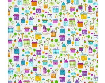 Timeless Treasures Tiny Town Happy House Multi Fabric, 1 yard
