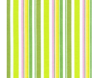 Timeless Treasures Suzy-Q Stripe Green Organic Cotton fabric, 1 yard