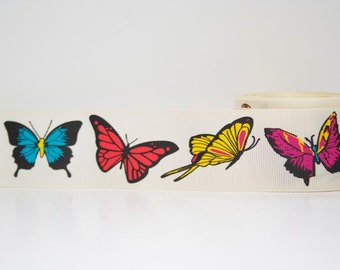 Butterfly Print Extra Wide 1.5 inch Grosgrain Ribbon