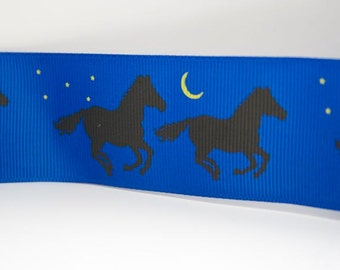 Midnight Blue Horse Print Extra Wide 1.5in Grosgrain Ribbon - 1yd