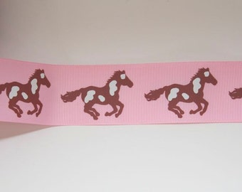 Pink Palomino Horse Print Extra Wide 1.5in Grosgrain Ribbon - 1 yd