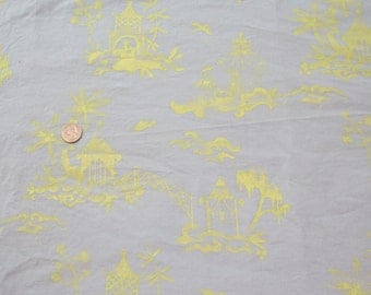 Asian Toile Print Light Blue Corduroy Fabric, 1yd