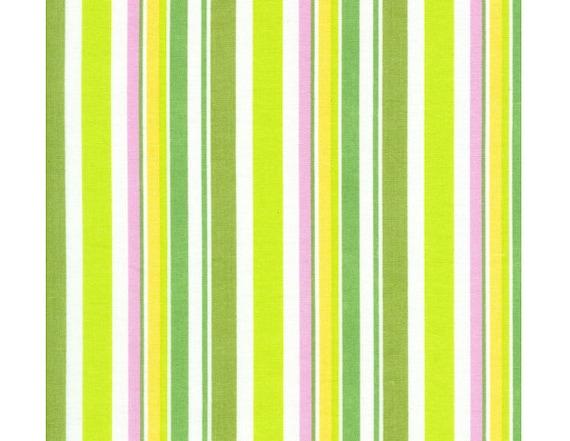 Timeless Treasures Suzy-Q Stripe Green Organic Cotton fabric, 1 yard