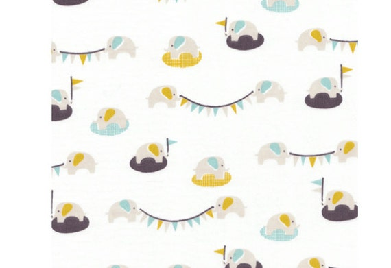 Cloud 9 My Happy Nursery Ele-fete Sky Organic Cotton fabric, 5/8 yard