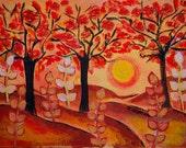 Autumn Sunshine, original acrylic painting on box canvas