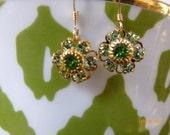 Green Swarovski Crystal Flower Earrings