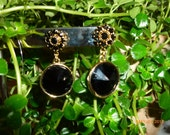 Black Dangle Crystal Earrings, Swavorski Crystals, Gold Filled Accents