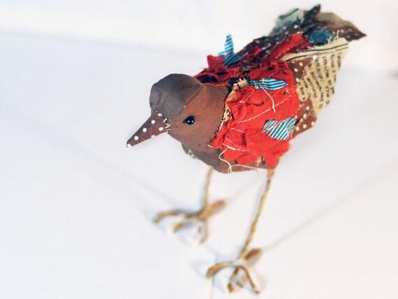 L'Uccelletto. Soft sculpture. Stuffed bird