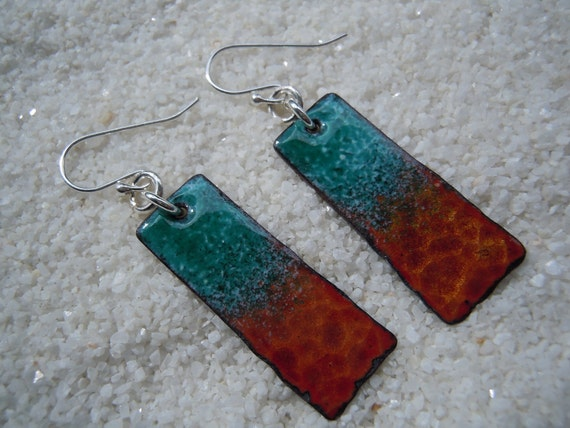 Enamel Earrings, Copper Earrings, Dangle Earrings