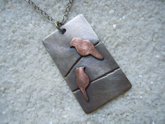 Birds on a Wire Necklace, Silver and Copper Bird Pendant, Bird Jewelry
