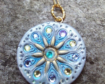 SNOW QUEEN Silver, Blue and Gold Medallion Pendant
