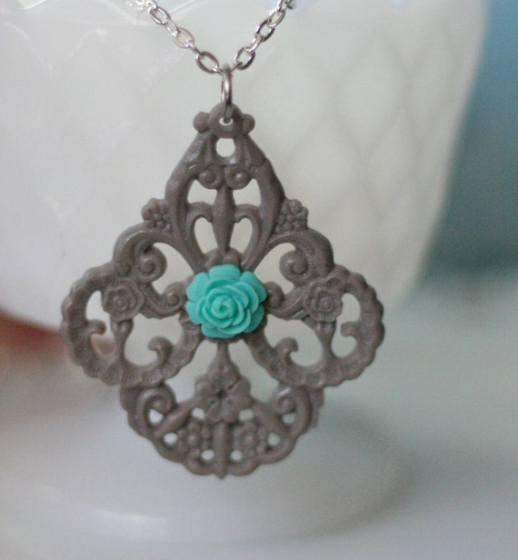 50% OFF SALE Grey German Filigree Pendant and Turquoise Rose Necklace -- Antique Silver