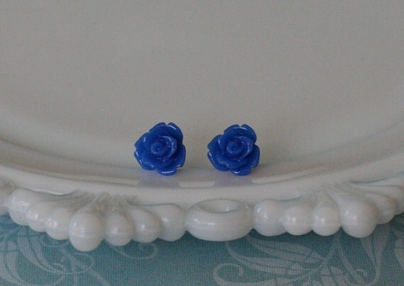 Royal Blue Icing Rose Earrings