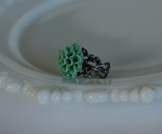 50% OFF SALE Muted Teal Mum Filigree Ring -- Antique SIlver