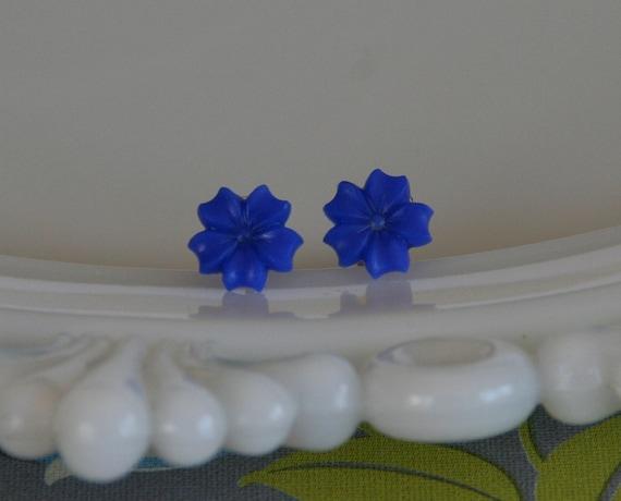 50% OFF SALE Electric Blue Flower Earrings