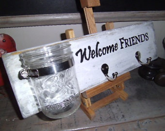 Welcome Friends Jar and Hook Wall hanging
