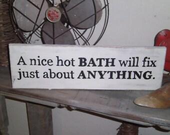 Handpainted Hot Bath sign