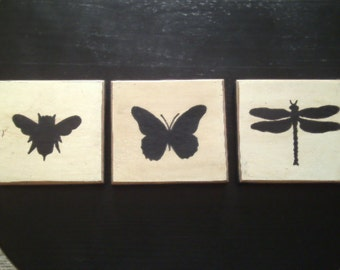 Bee, Butterfly and Dragonfly Silhouettes