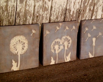 Trio of Dandelion Paintings, Dandelion Wall Art, Dandelion