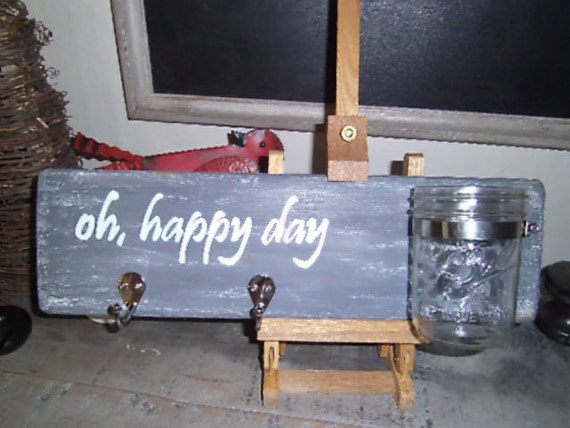 Oh Happy Day Jar and Hook Wall Hanging