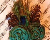Gorgeous Green Rosette Duo with Peacock and Polka Dot Feathers - Hair Clip or Brooch Pin - Wedding reception