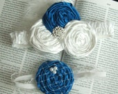 Wedding Bridal Garter Set - Blue and White - Includes toss garter - Something Blue