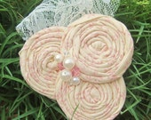 Ivory and Light Pink Rosette Trio Hair Clip or Brooch Pin Corsage Ivory Lace-Vintage Inspired