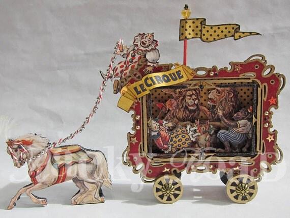 Circus Wagon with Horse Altered Altoid Tin
