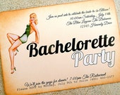 Bachelorette Party Invitation -  Vintage Pin Up Girl Poolside (FREE SHIPPING within the US)