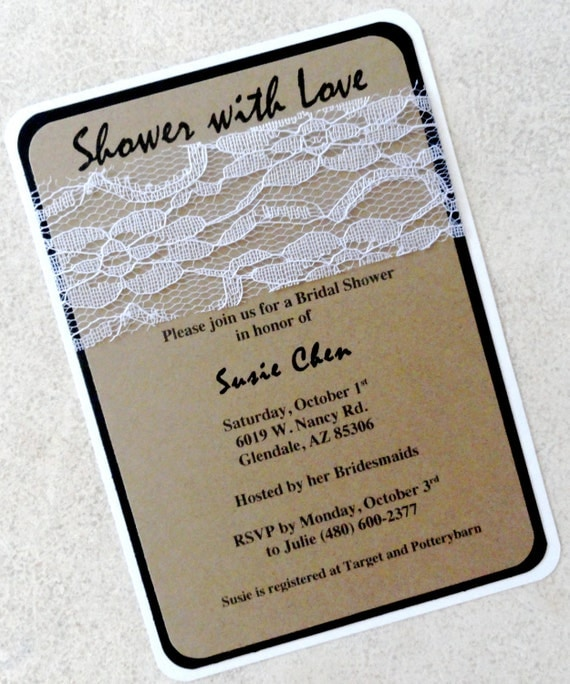 Bridal Shower Invitation - Paper and Lace (FREE SHIPPING within the US ...