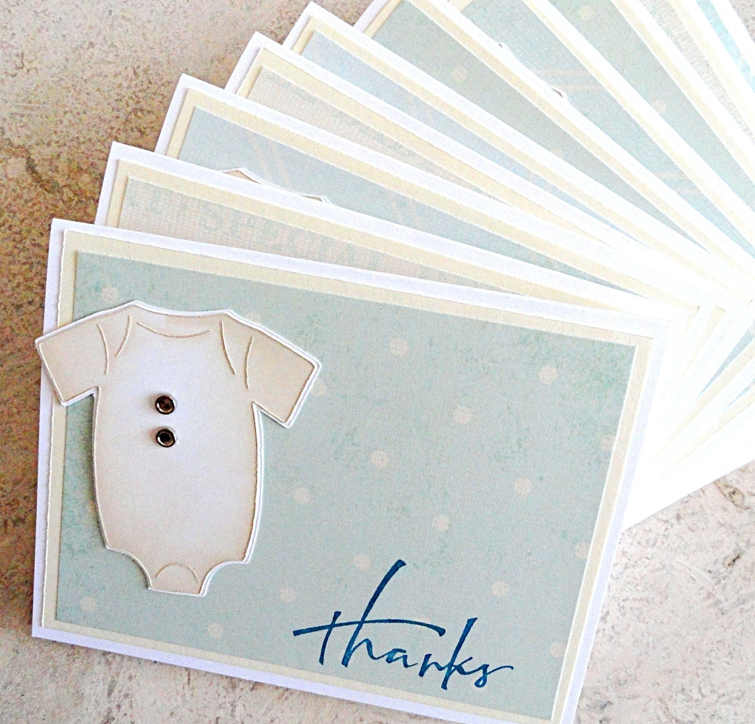 Vintage Baby Shower Thank You Cards: Baby Shower Thank You Cards Vintage Baby Boy Onsie Set Of