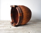 Handwoven Reed Asian Basket with Wooden Handles