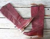 LIke New. Chestnut Red Leather Riding Boots.  Size 6/6.5