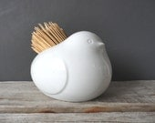 Bird Pottery Rustic Straw Brush Holder