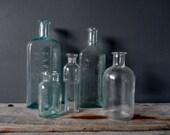 Set of Antique Glass Medicine Bottles