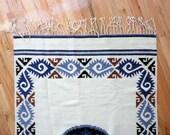Large Woven Wool Aztec Blanket / Rug