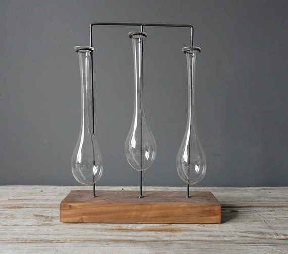 Set of 3 Industrial Glass Bud Vases