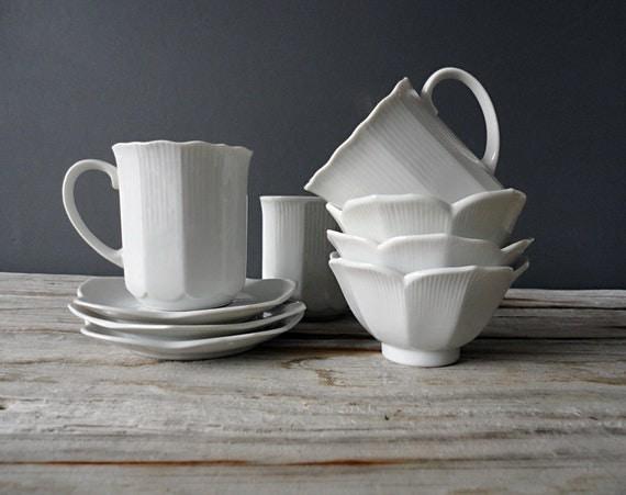Set of Porcelain Lotus Mugs & Bowls