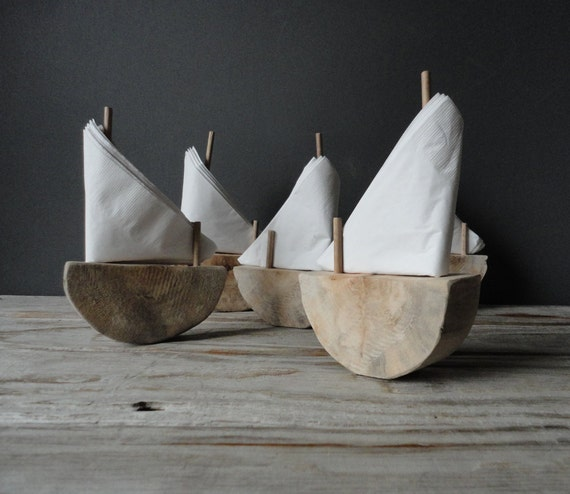 Driftwood Sailboat Napkin Holder.  Wedding Place Settings