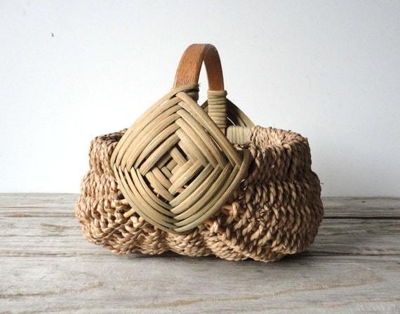 Handwoven Egg Basket with Wood Handle