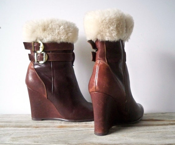 Shearling & Leather Booties.  Size 8.5