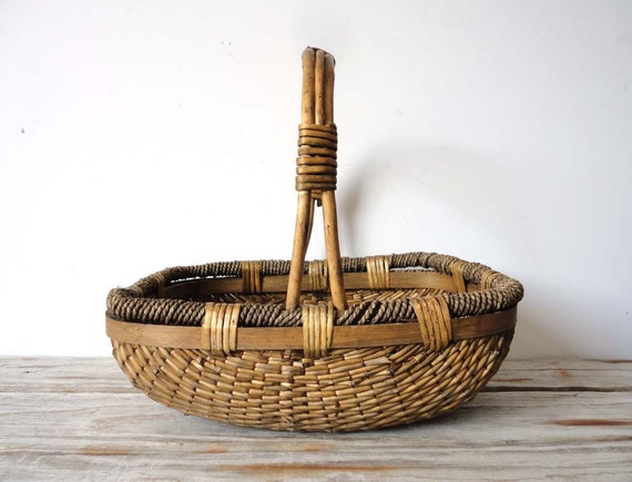 Handcrafted Reed Asian Basket with Wooden Handles