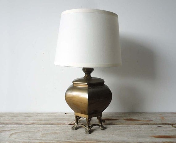 Footed Bronze Table Lamp