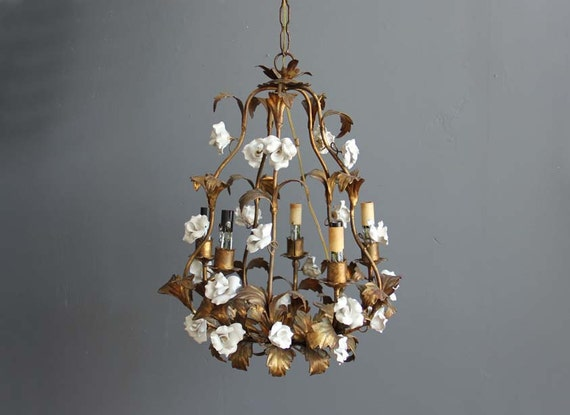 Large Antique Rose & Gold Leaf Chandelier