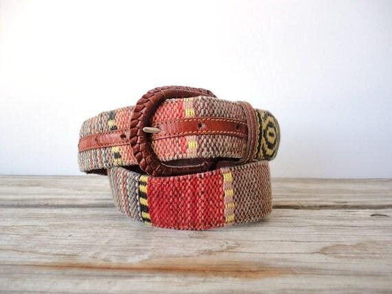 Handwoven Southwestern Cotton & Leather Belt