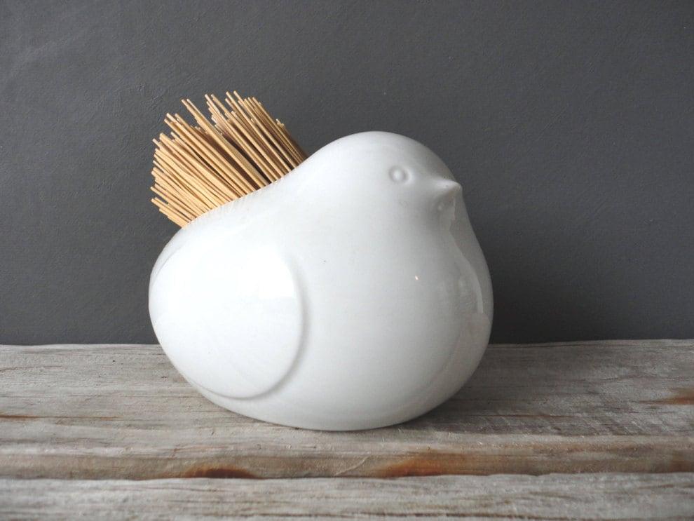 Bird pottery rustic straw brush holder - Toothpick dispenser bird ...