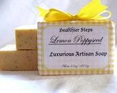 Handmade Lemon Poppyseed Soap -Vegan Shea Butter Cold Process Soap