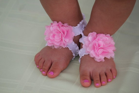 Newborn Barefoot Sandals, baby shower gift, sandalias bebe, baby sandals, baby shoes, by Lil Miss Sweet Pea Boutique