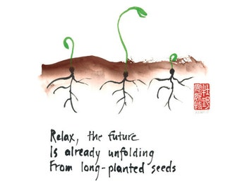 127. Zen affirmation - set of 6 greeting cards of seedlings - haiku and sumi ink painting