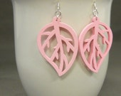 FREE SHIPPING. Wooden Leaf Cutout Earrings. Pink.
